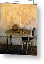 Table And Chairs Infront Of Weathered Greeting Card