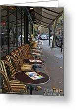 Tables Outside A Paris Bistro On An Autumn Day Greeting Card