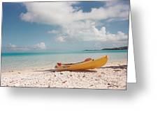 Tahiti Ocean Kayak On Beach Greeting Card