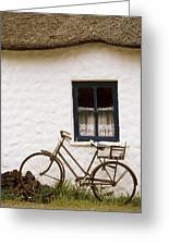 Tahtched Cottage And Bike Greeting Card