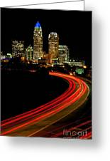 Taillights Toward Charlotte Skyline Greeting Card