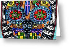 Talavera Sugar Skull Owl Greeting Card