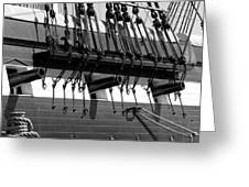 Tall Ship Canons Black And White Greeting Card