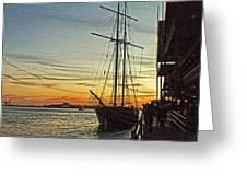 Tall Ship In Manhattan Greeting Card