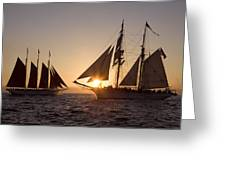Tall Ships At Sunset Greeting Card