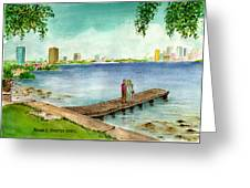 Tampa Fl Little Pier At Ballast Point Greeting Card
