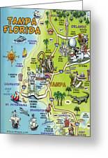 Tampa Florida Cartoon Map Greeting Card