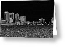 Tampa Panorama Digital - Black And White Greeting Card