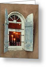 Taos Window With Candlelight Greeting Card