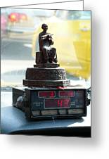 Taxi Meter Monk Greeting Card