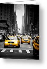 Taxis On 6th Avenue Greeting Card