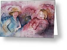 Taylor And Chuck At The Picnic Greeting Card