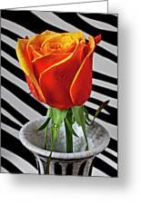 Tea Rose In Striped Vase Greeting Card