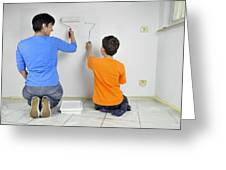 Teamwork - Mother And Child Painting Wall Greeting Card