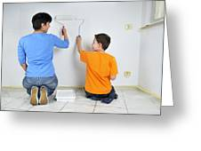 Teamwork - Mother And Son Painting Wall Greeting Card