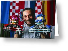 Technician With Lego Footballers At Robocup-98 Greeting Card