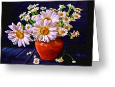 Technicolor Daisies In An Orange Pot Greeting Card