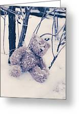 Teddy In Snow Greeting Card