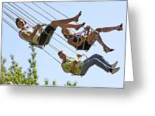 Teenagers On Fairground Ride Greeting Card