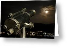 Telescope And Red Moon Greeting Card