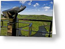 Telescope With View On Meander Of Queuille. Auvergne. France. Europe Greeting Card
