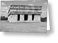 Temple Of The Turtles At Uxmal Mexico Black And White Greeting Card