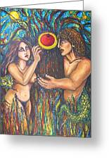 Temptation Of Adam And Eve  Greeting Card