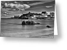 Tenby Harbour 1 Mono Greeting Card
