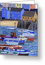 Painting Tenby Harbour With Boats Greeting Card