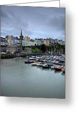 Tenby Town Across The Harbour Greeting Card