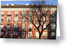 Tenement House Facade In Madrid Greeting Card