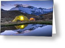 Tents Lit By Flashlight On Cascade Greeting Card