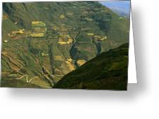 Terraced Fields Above Canyon Draining Greeting Card