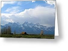 Teton Mountains And Barn Greeting Card