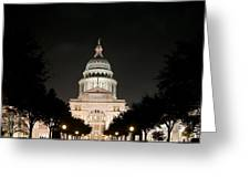 Texas Capitol Building At Night - Horz Greeting Card