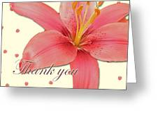 Thank You Card - Pink Lily Greeting Card