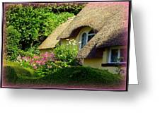 Thatched Cottage With Pink Flowers Greeting Card