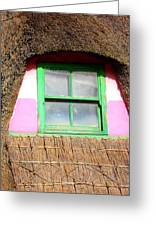 Thatched Roof Cottage Window Greeting Card