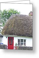 Thatched Roof Cottage With Red Door Greeting Card