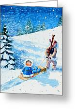 The Aerial Skier - 1 Greeting Card