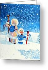 The Aerial Skier - 4 Greeting Card by Hanne Lore Koehler