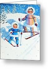The Aerial Skier - 6 Greeting Card by Hanne Lore Koehler