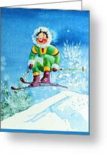 The Aerial Skier - 9 Greeting Card