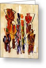 Figurative Abstract African Couple Reproduction On Gallery Wrapped Canvas  Greeting Card by Marie Christine Belkadi