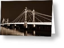 The Albert Bridge London Sepia Toned Greeting Card
