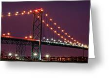 The Ambassador Bridge At Night - Usa To Canada Greeting Card by Gordon Dean II