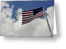 The American Flag Blowing In The Breeze Greeting Card