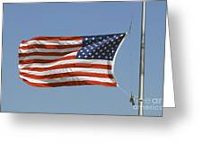 The American Flag Waves At Half-mast Greeting Card
