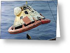 The Apollo 8 Capsule Being Hoisted Greeting Card