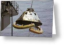 The Apollo 9 Command Module Is Hoisted Greeting Card
